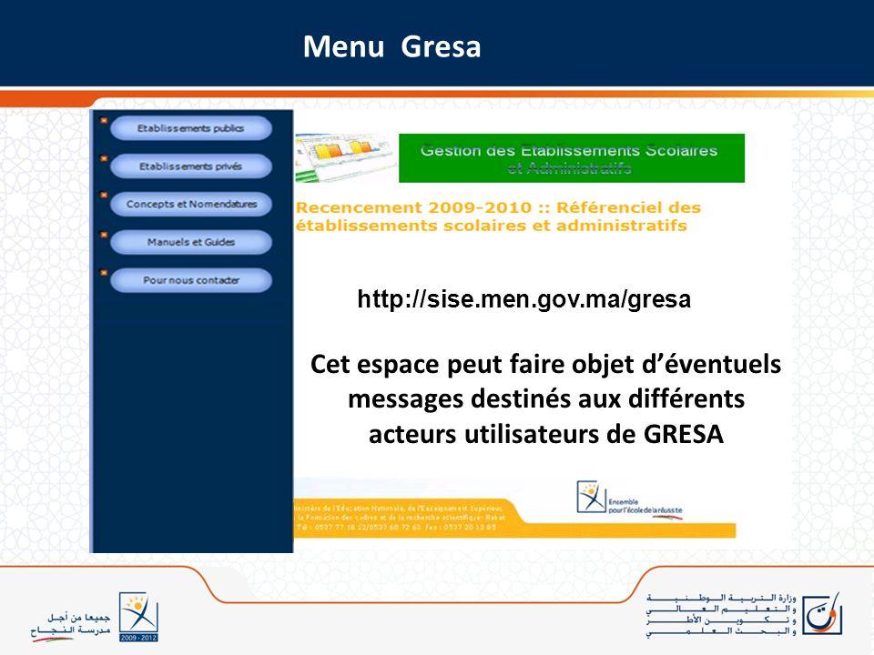 Menu Gresa http://sise.men.gov.ma/gresa.