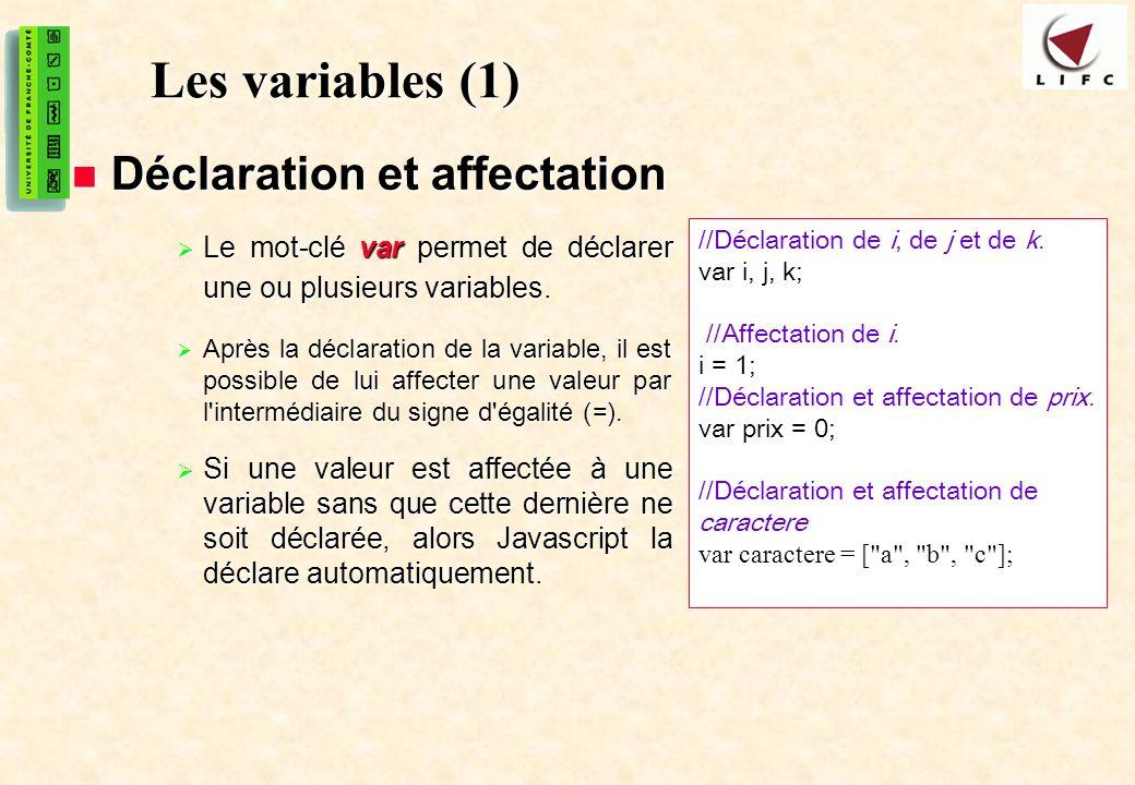 Les variables (1) Déclaration et affectation