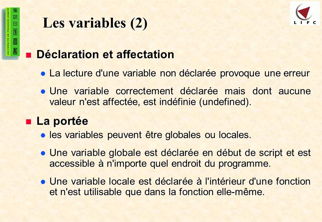 Les variables (2) Déclaration et affectation La portée