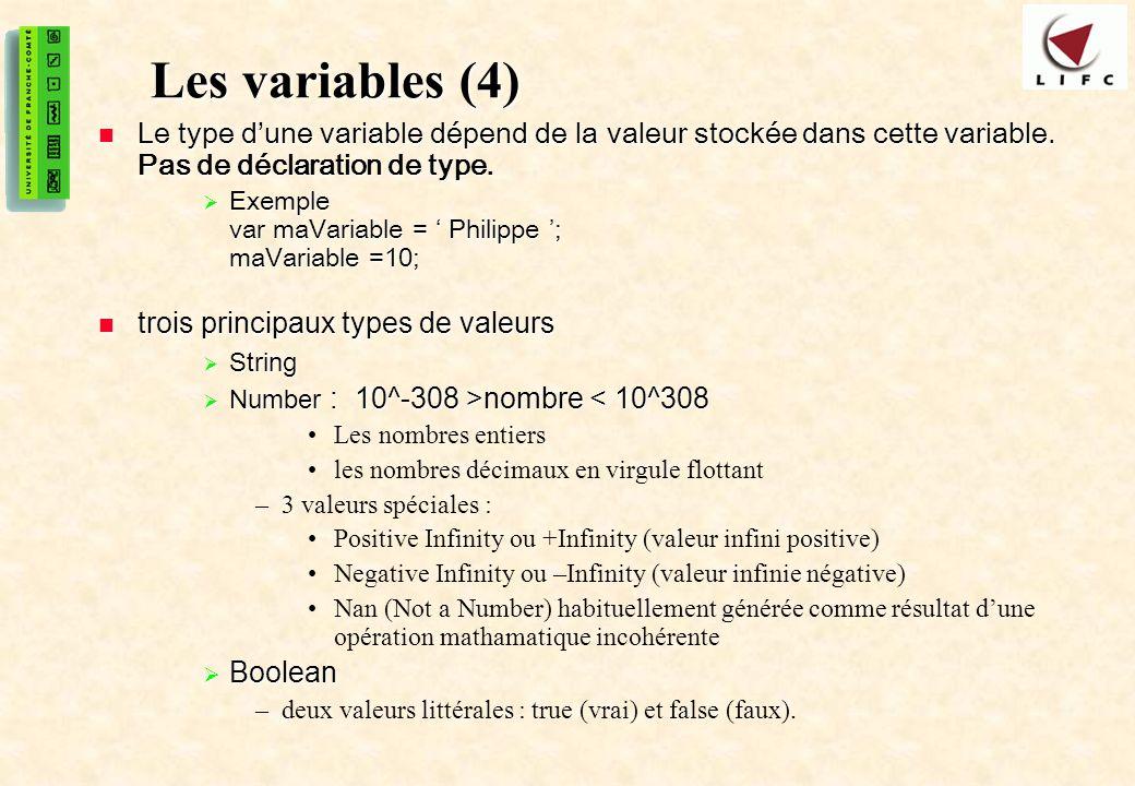Les variables (4) Le type d'une variable dépend de la valeur stockée dans cette variable. Pas de déclaration de type.