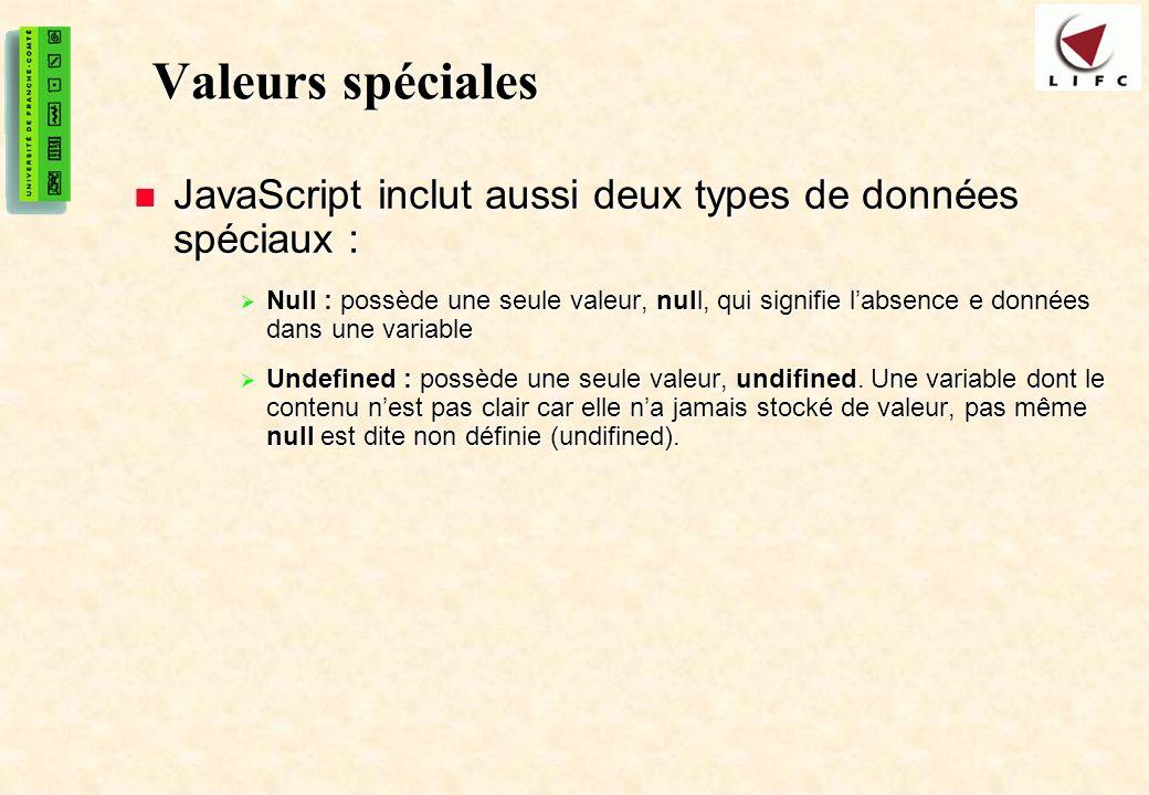 Valeurs spéciales JavaScript inclut aussi deux types de données spéciaux :