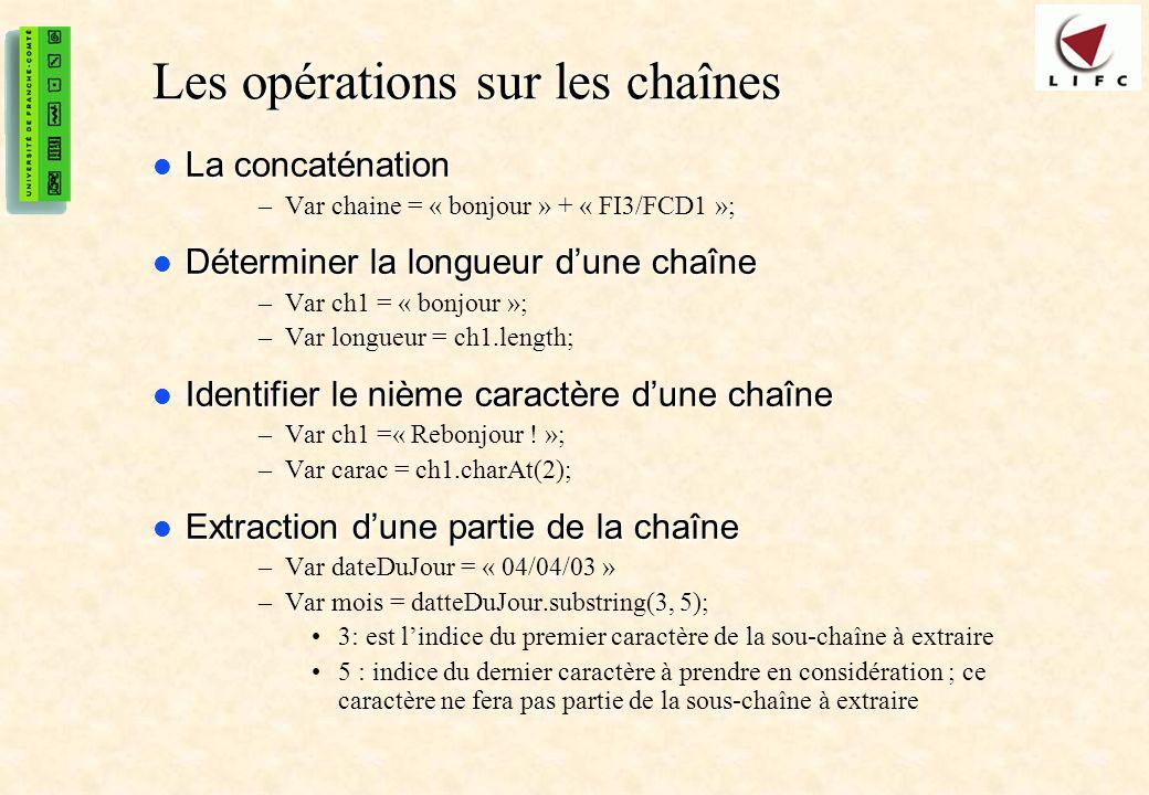 Les opérations sur les chaînes