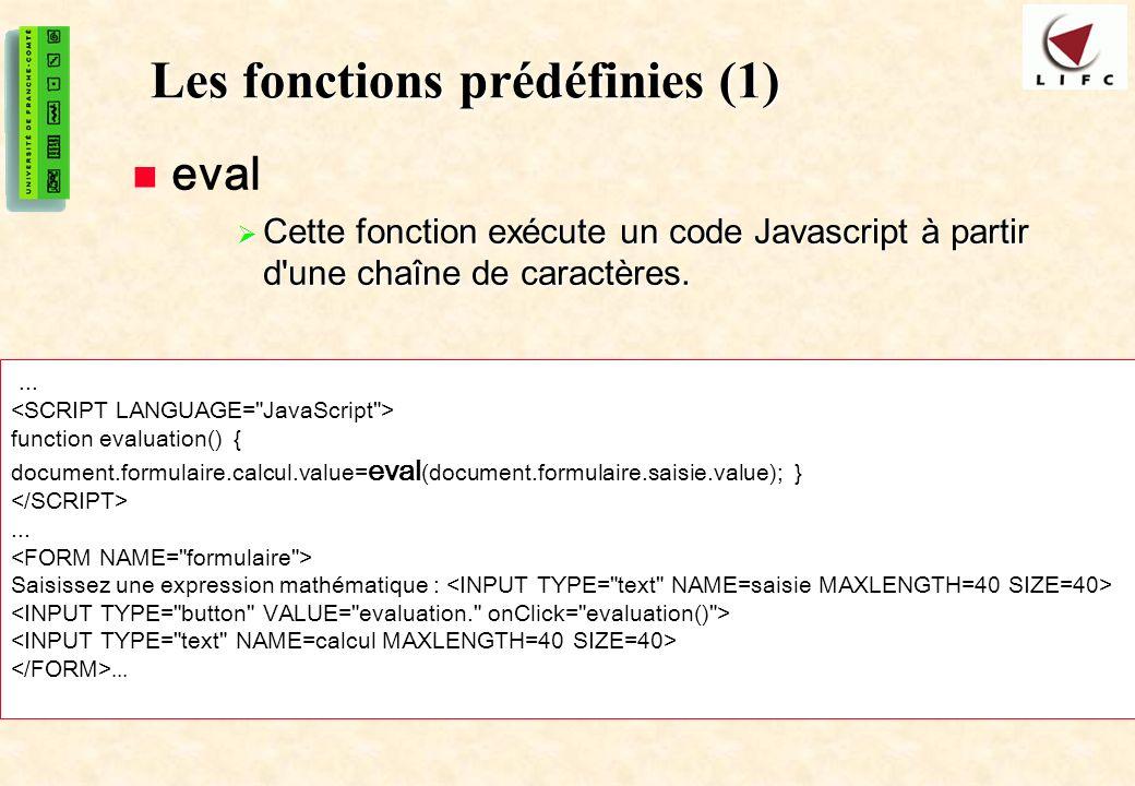 Les fonctions prédéfinies (1)