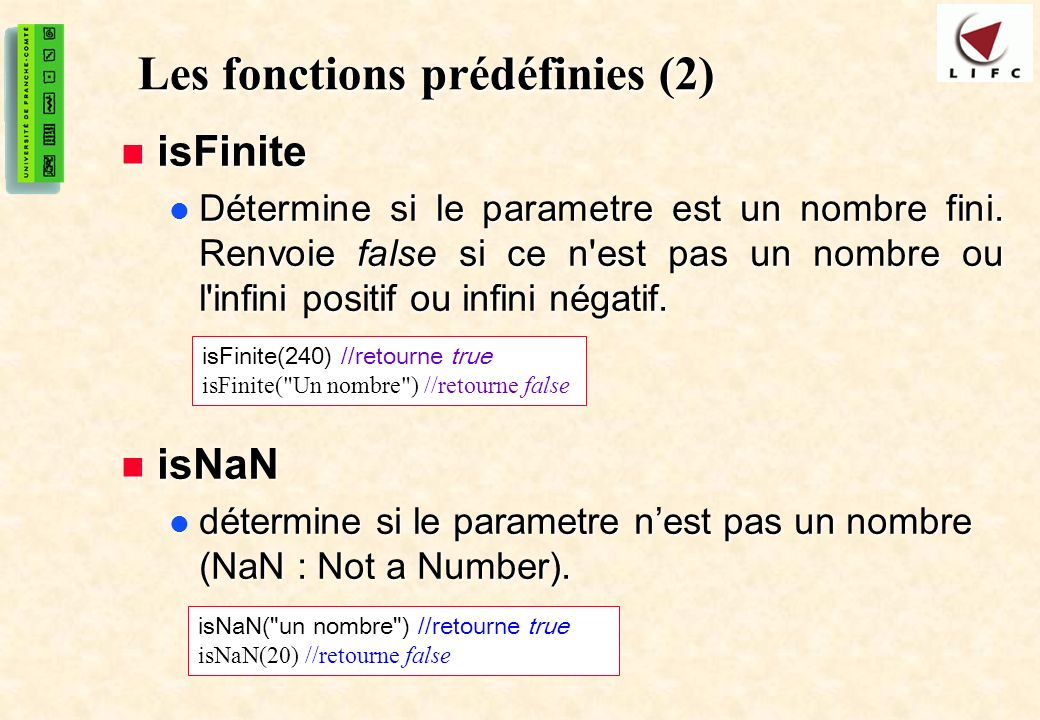 Les fonctions prédéfinies (2)
