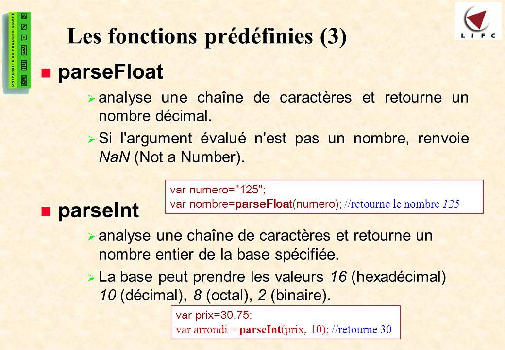 Les fonctions prédéfinies (3)
