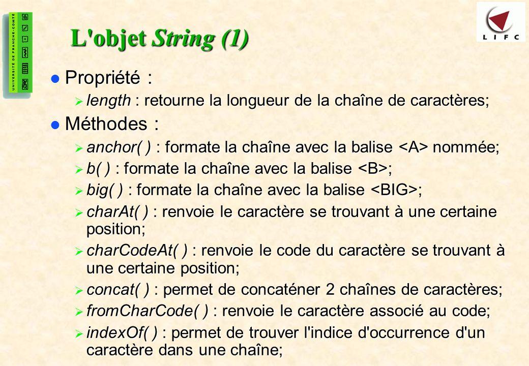 L objet String (1) Propriété : Méthodes :