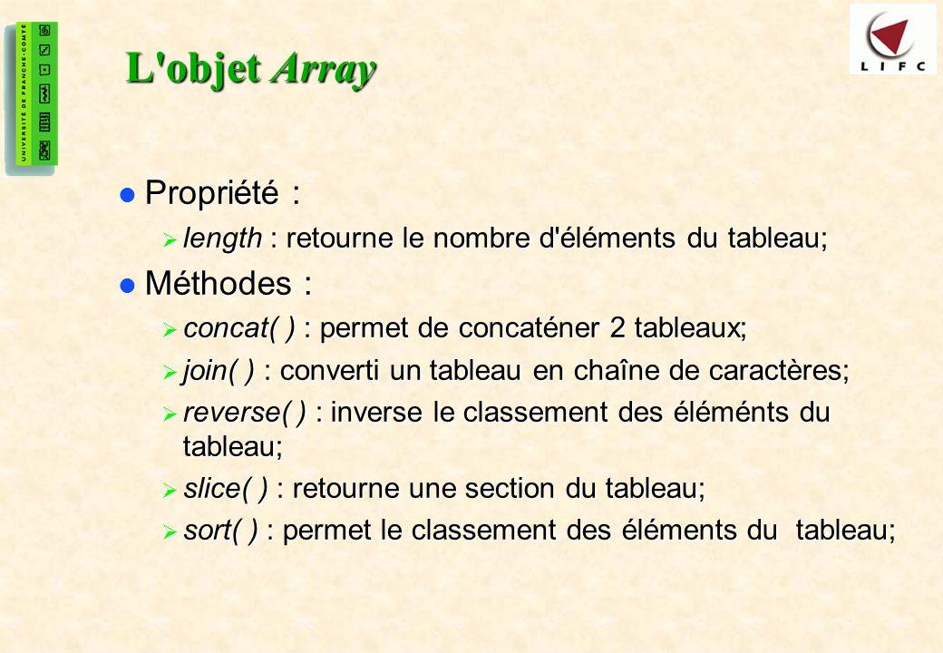 L objet Array Propriété : Méthodes :