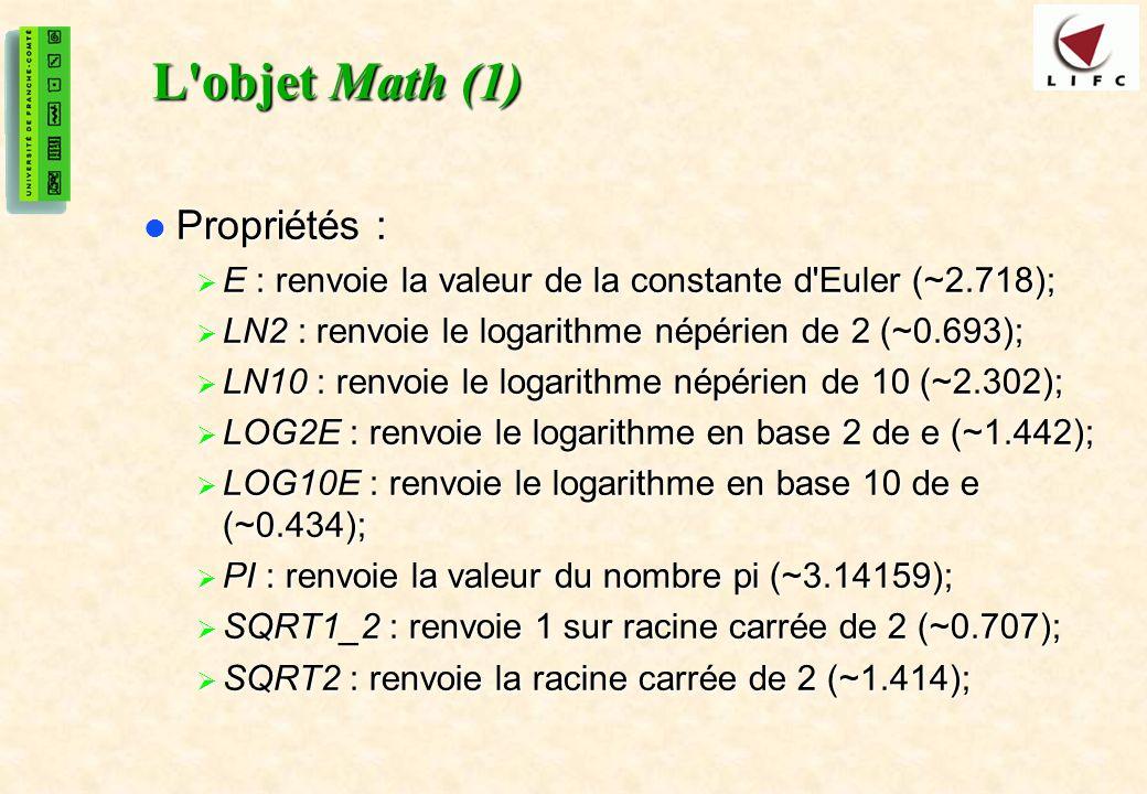 L objet Math (1) Propriétés :