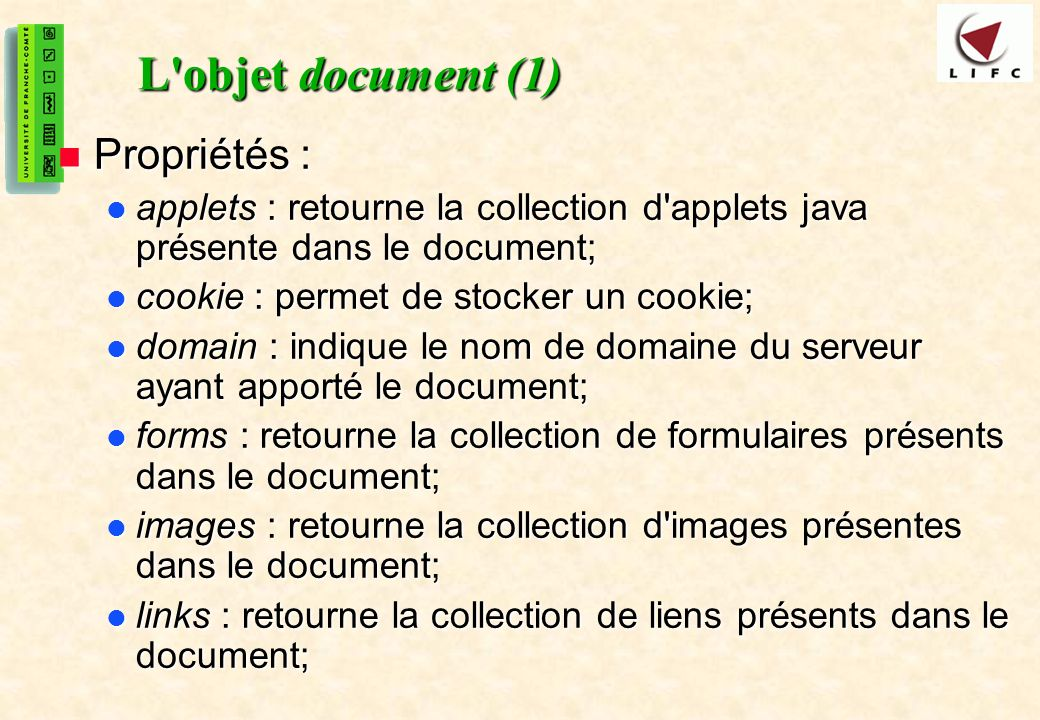 L objet document (1) Propriétés :