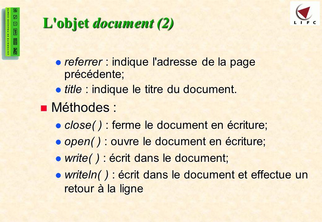 L objet document (2) Méthodes :