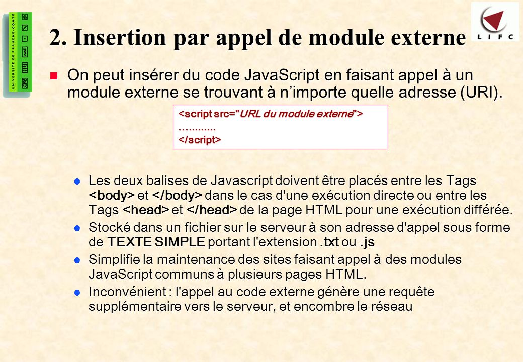 2. Insertion par appel de module externe