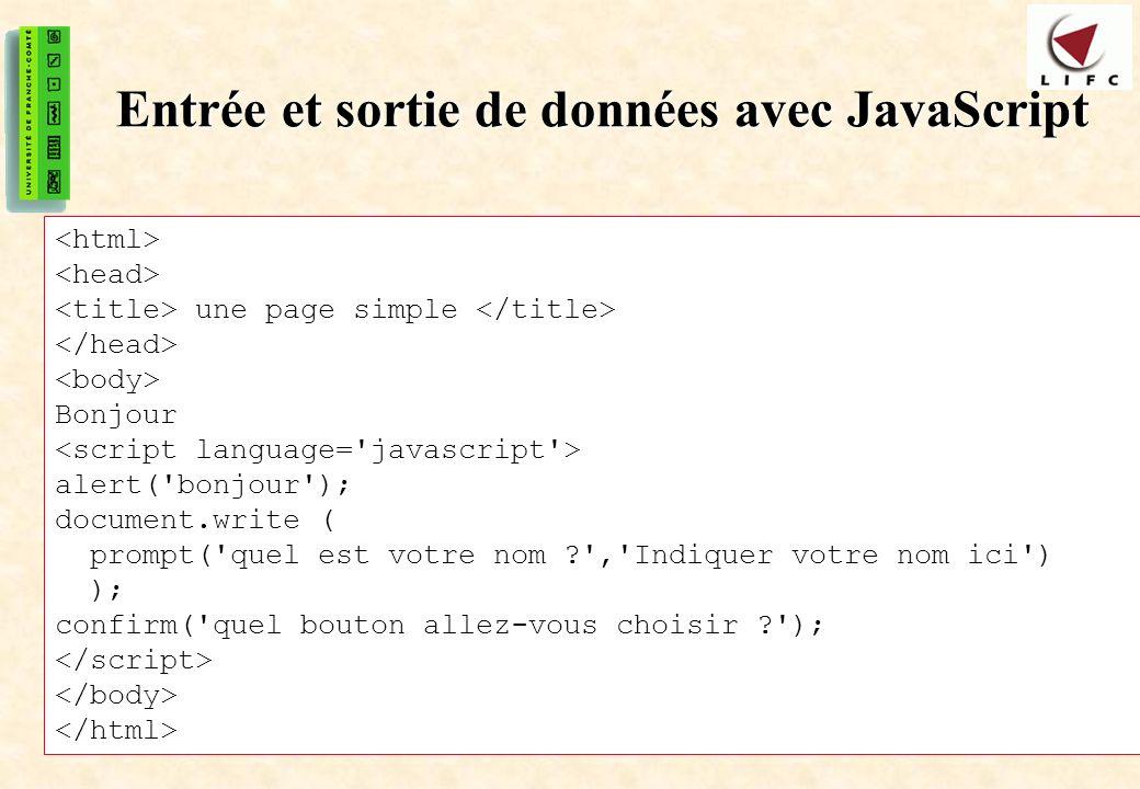 Entrée et sortie de données avec JavaScript