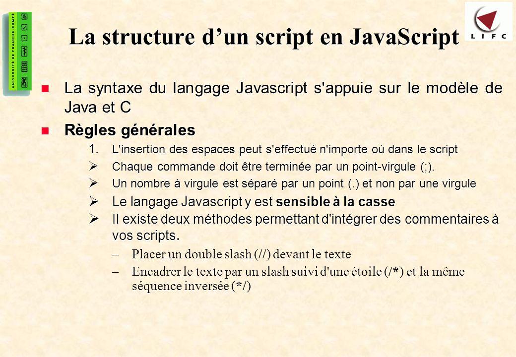 La structure d'un script en JavaScript
