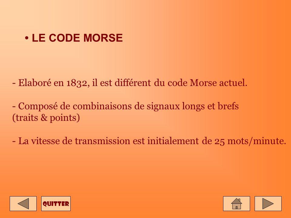 • LE CODE MORSE - Elaboré en 1832, il est différent du code Morse actuel. - Composé de combinaisons de signaux longs et brefs (traits & points)
