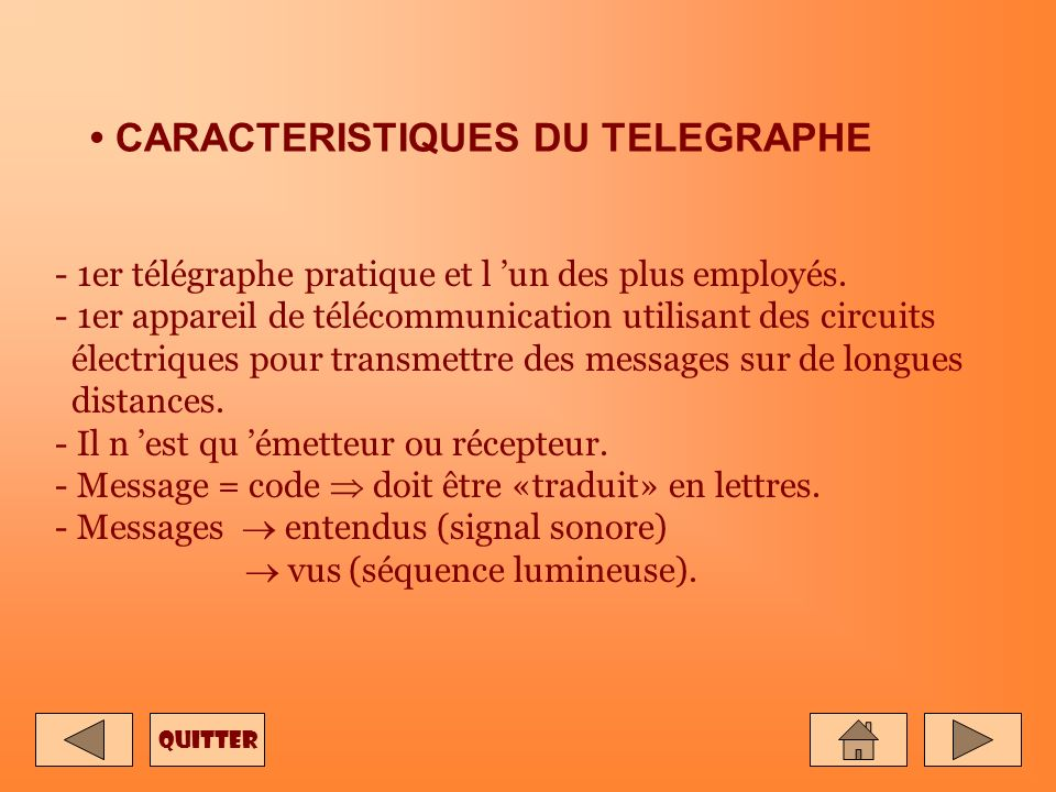 • CARACTERISTIQUES DU TELEGRAPHE