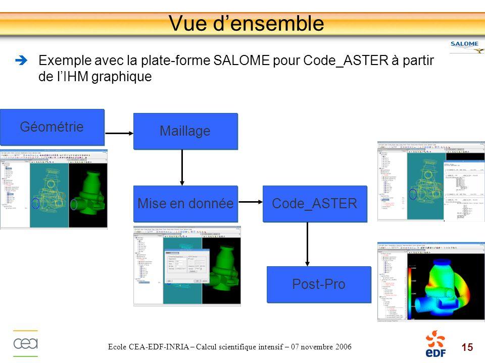 07 novembre 2006 Vue d'ensemble. Exemple avec la plate-forme SALOME pour Code_ASTER à partir de l'IHM graphique.