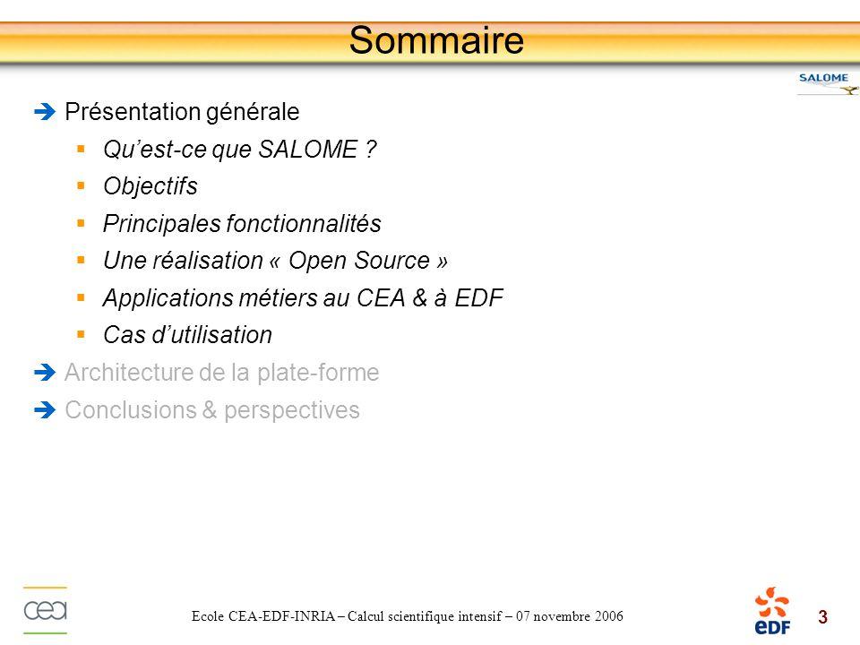 Sommaire Présentation générale Qu'est-ce que SALOME Objectifs
