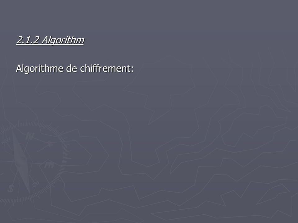 2.1.2 Algorithm Algorithme de chiffrement: