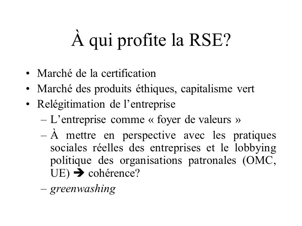 À qui profite la RSE Marché de la certification
