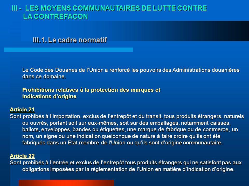 III - LES MOYENS COMMUNAUTAIRES DE LUTTE CONTRE
