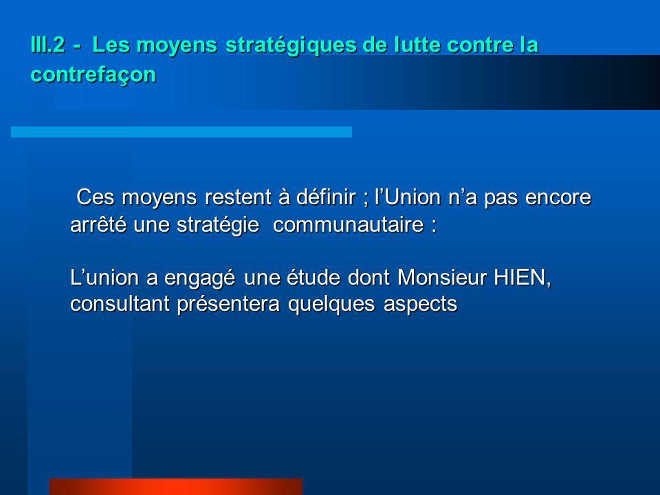 III.2 - Les moyens stratégiques de lutte contre la contrefaçon
