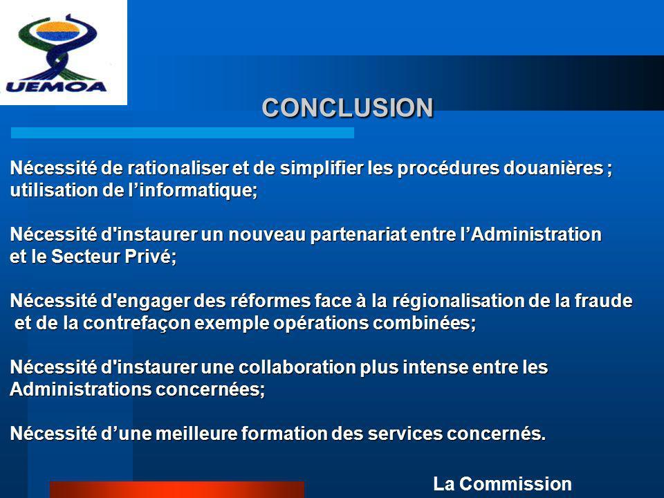 CONCLUSION Nécessité de rationaliser et de simplifier les procédures douanières ; utilisation de l'informatique;