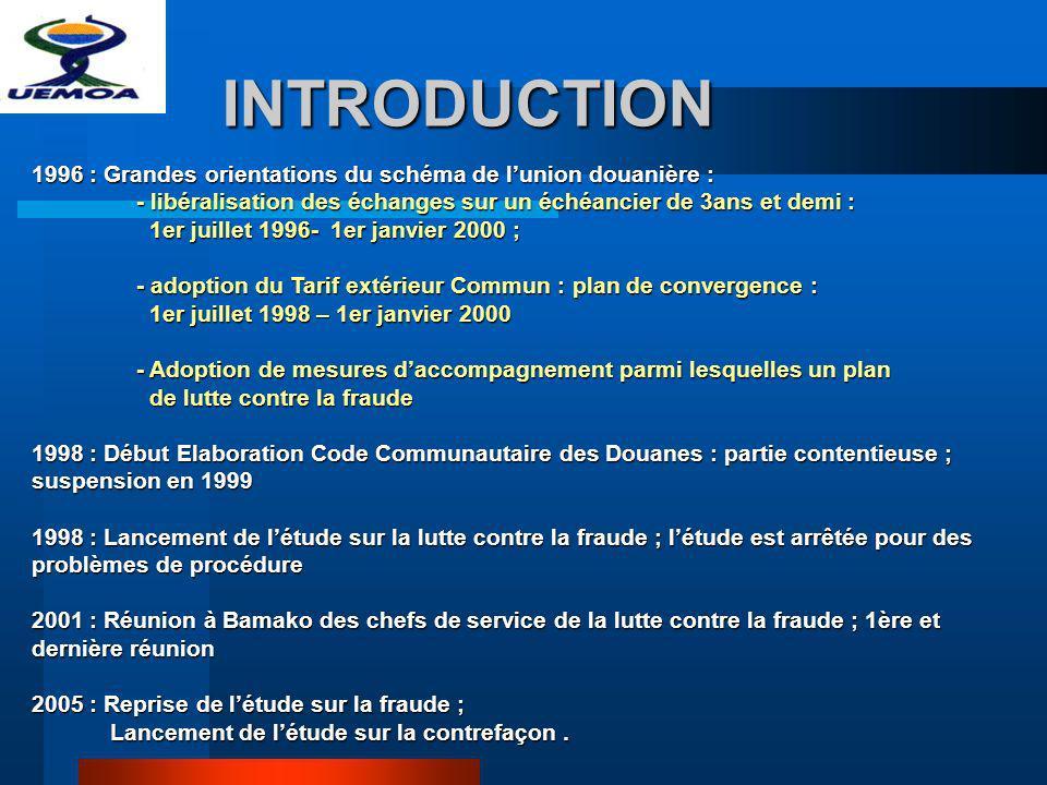 INTRODUCTION 1996 : Grandes orientations du schéma de l'union douanière : - libéralisation des échanges sur un échéancier de 3ans et demi :