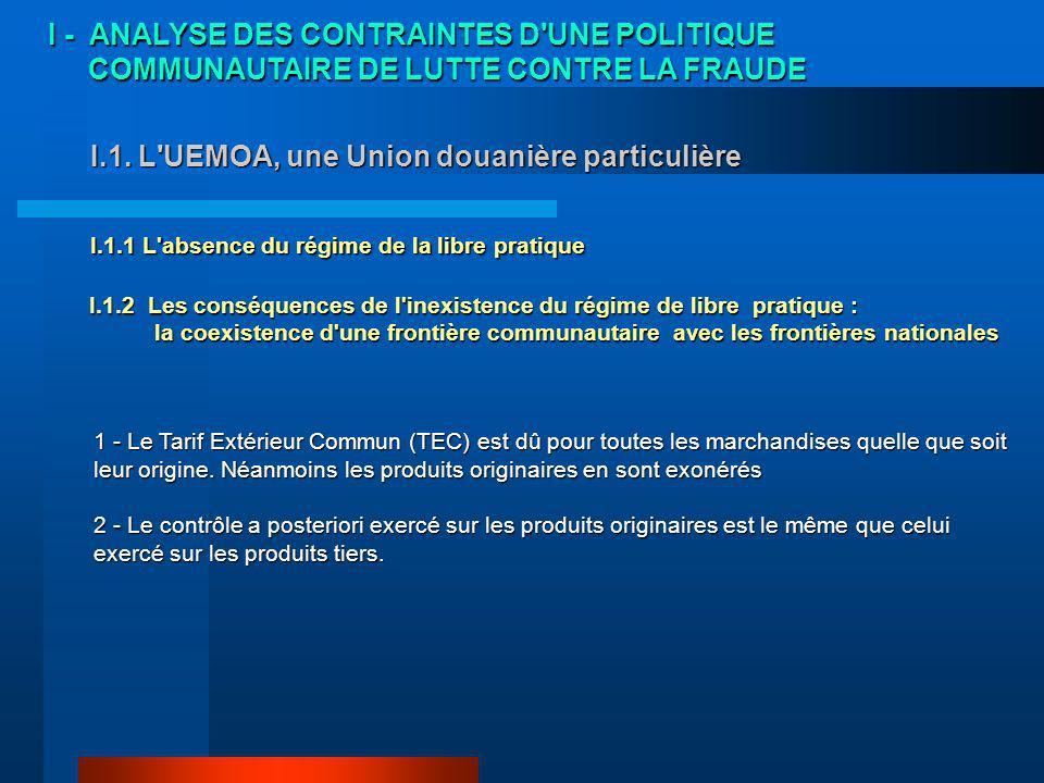 I.1. L UEMOA, une Union douanière particulière