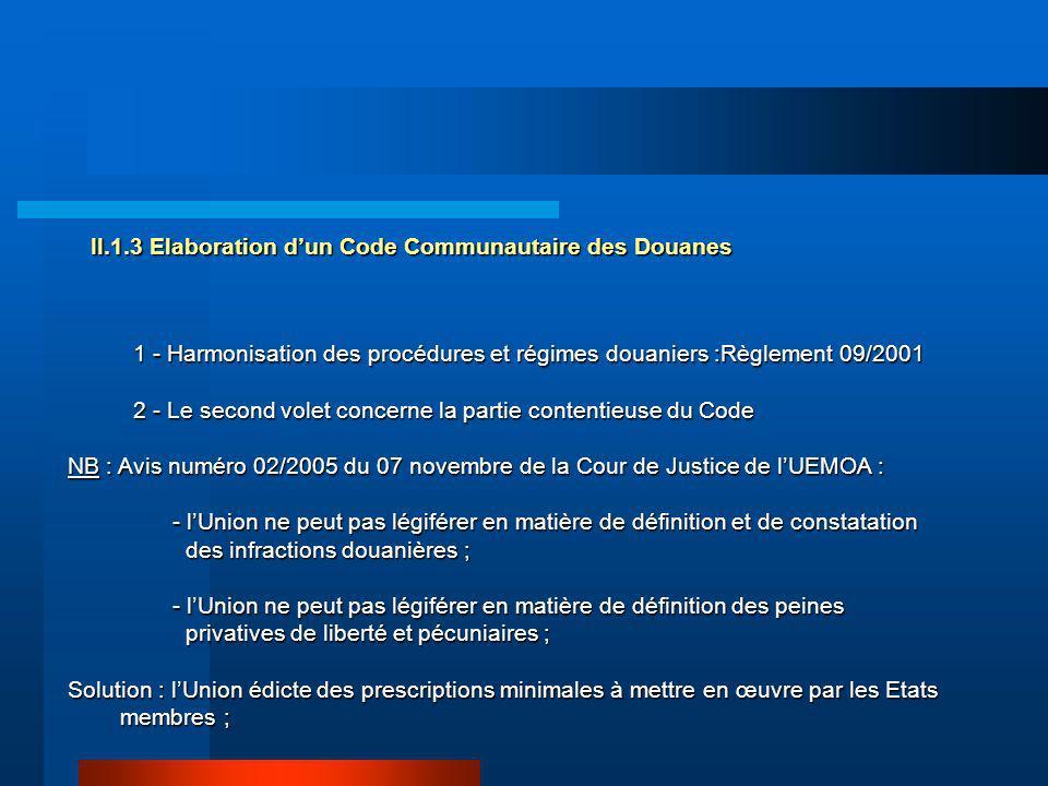 II.1.3 Elaboration d'un Code Communautaire des Douanes