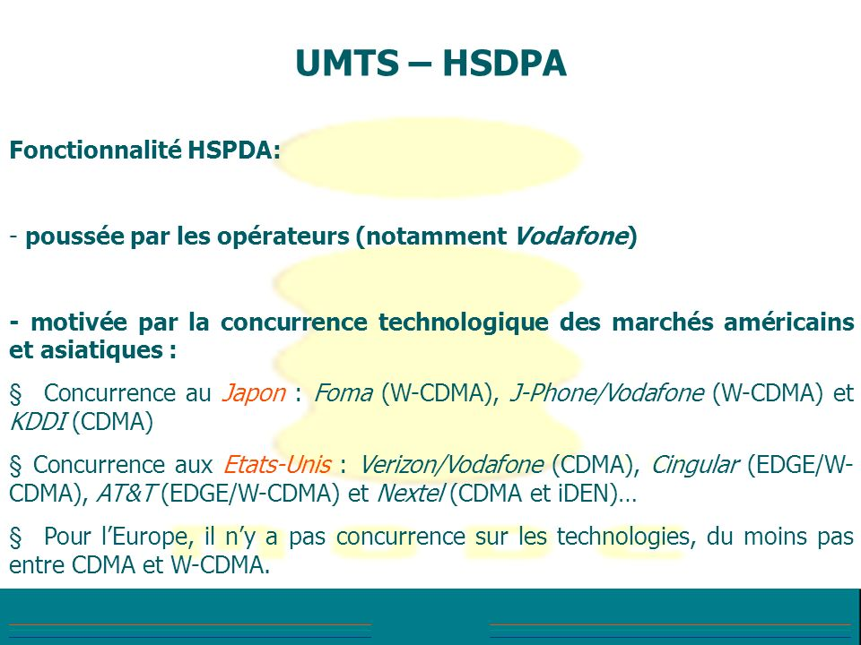 UMTS – HSDPA Fonctionnalité HSPDA: