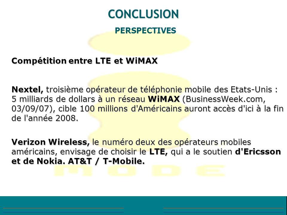 CONCLUSION PERSPECTIVES Compétition entre LTE et WiMAX
