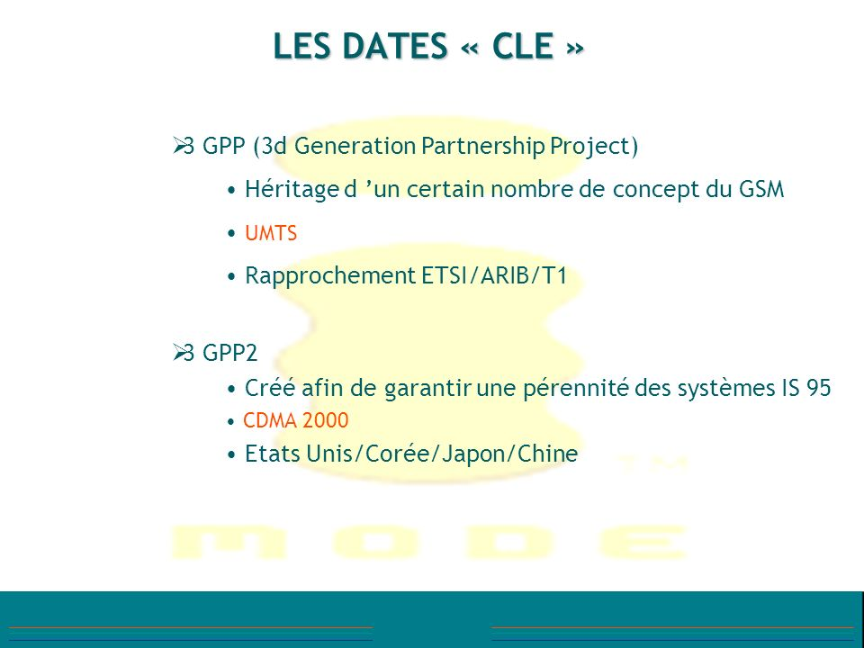 LES DATES « CLE » 3 GPP (3d Generation Partnership Project)