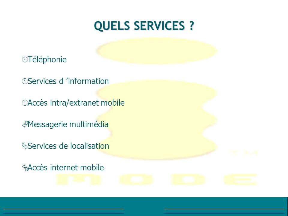 QUELS SERVICES Téléphonie Services d 'information