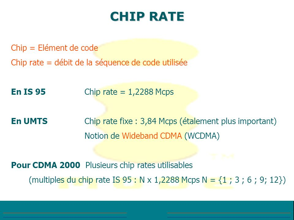 CHIP RATE Chip = Elément de code