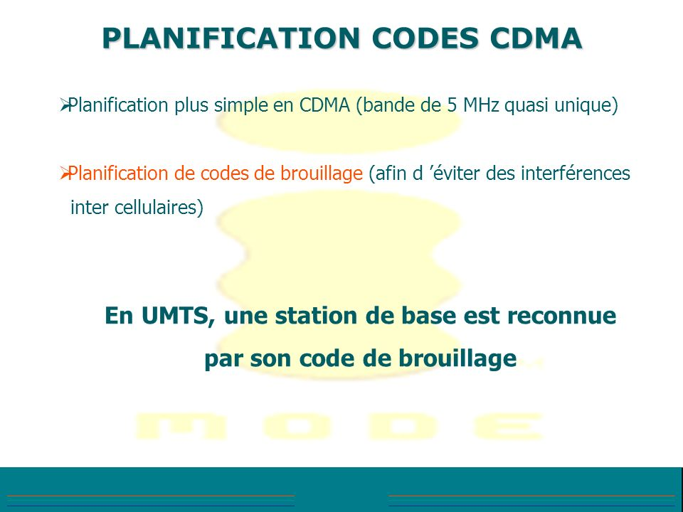 PLANIFICATION CODES CDMA