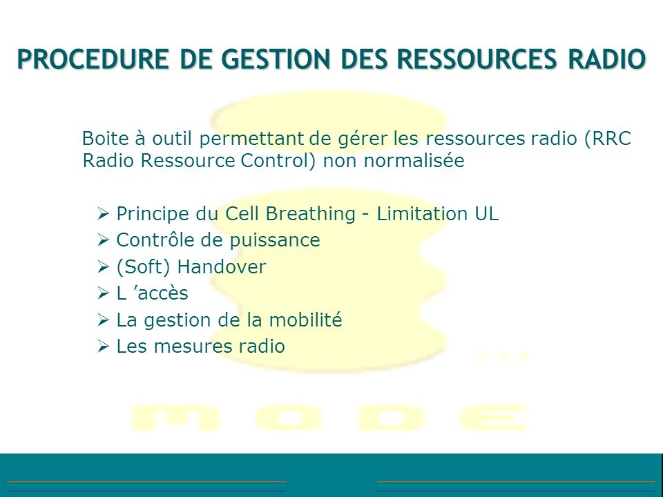 PROCEDURE DE GESTION DES RESSOURCES RADIO