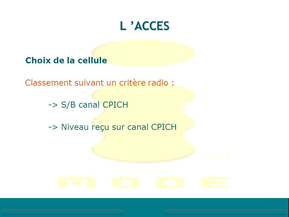 L 'ACCES Classement suivant un critère radio : -> S/B canal CPICH