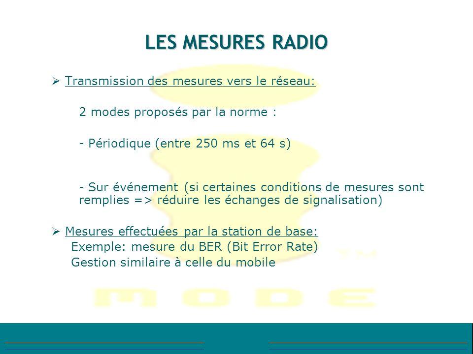 LES MESURES RADIO Transmission des mesures vers le réseau: