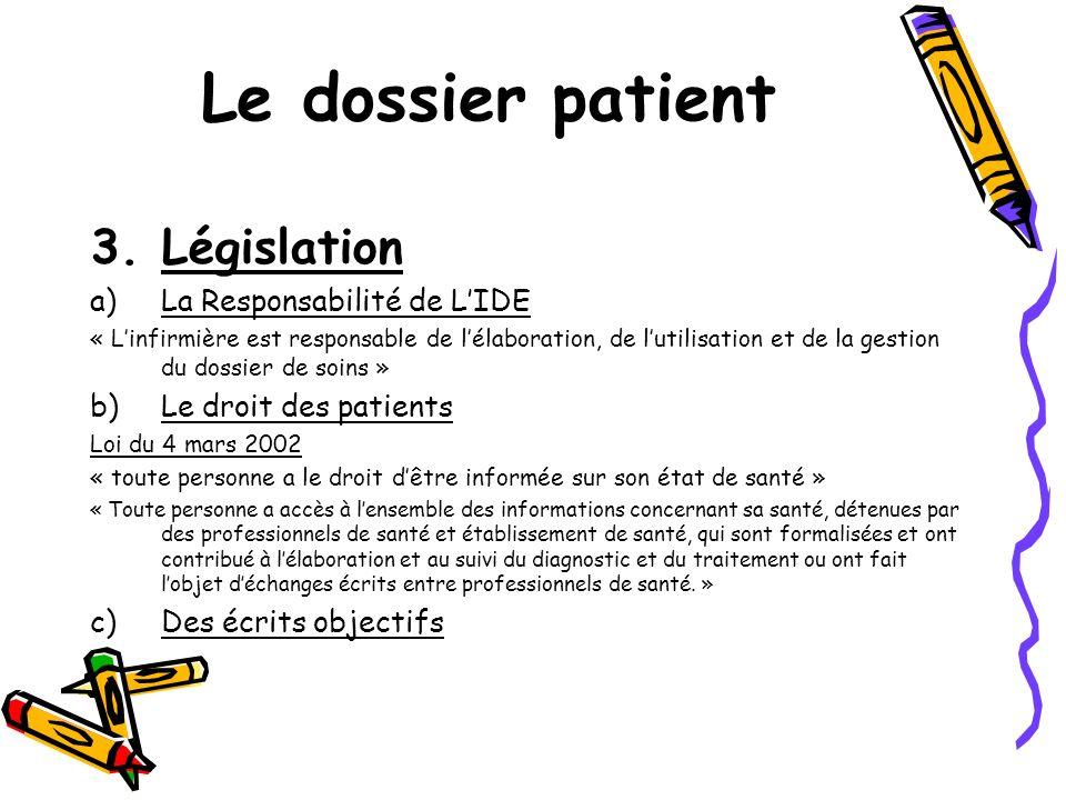 Le dossier patient Législation La Responsabilité de L'IDE