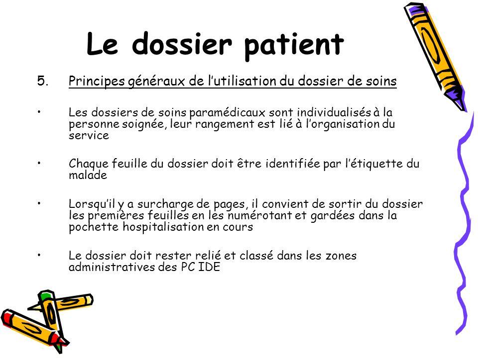 Le dossier patient Principes généraux de l'utilisation du dossier de soins.