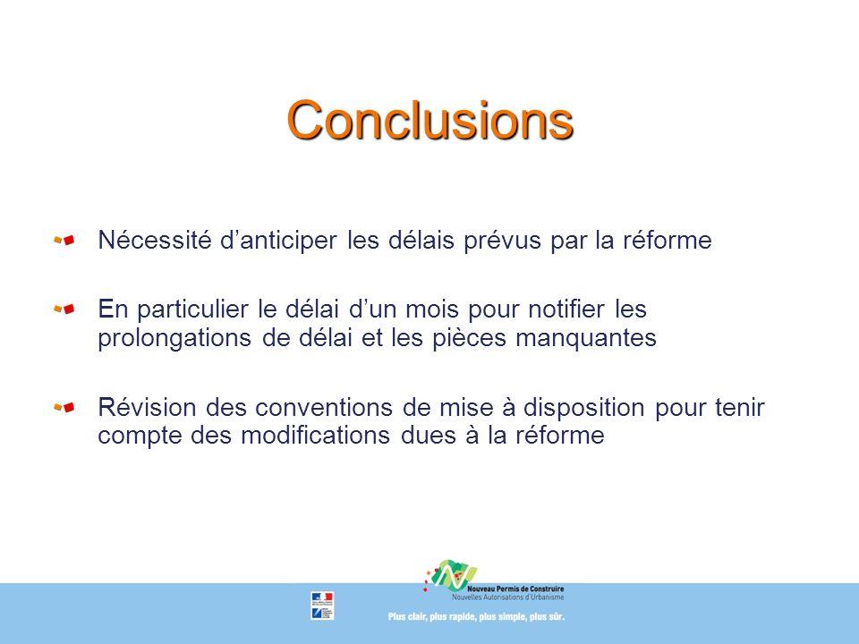 Conclusions Nécessité d'anticiper les délais prévus par la réforme