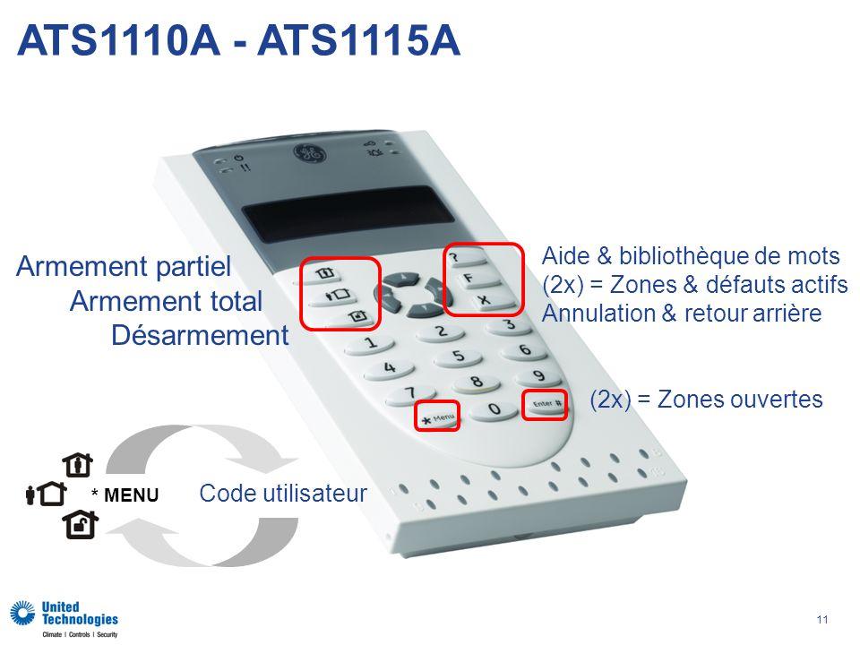 ATS1110A - ATS1115A Armement partiel Armement total Désarmement
