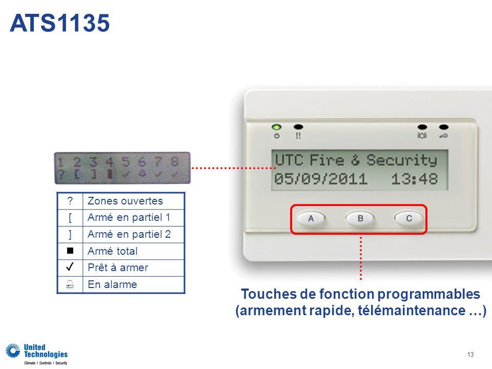 Touches de fonction programmables (armement rapide, télémaintenance …)