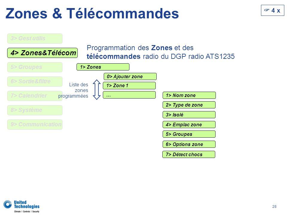 Zones & Télécommandes  4 x. 3> Gest utilis. Programmation des Zones et des télécommandes radio du DGP radio ATS1235.