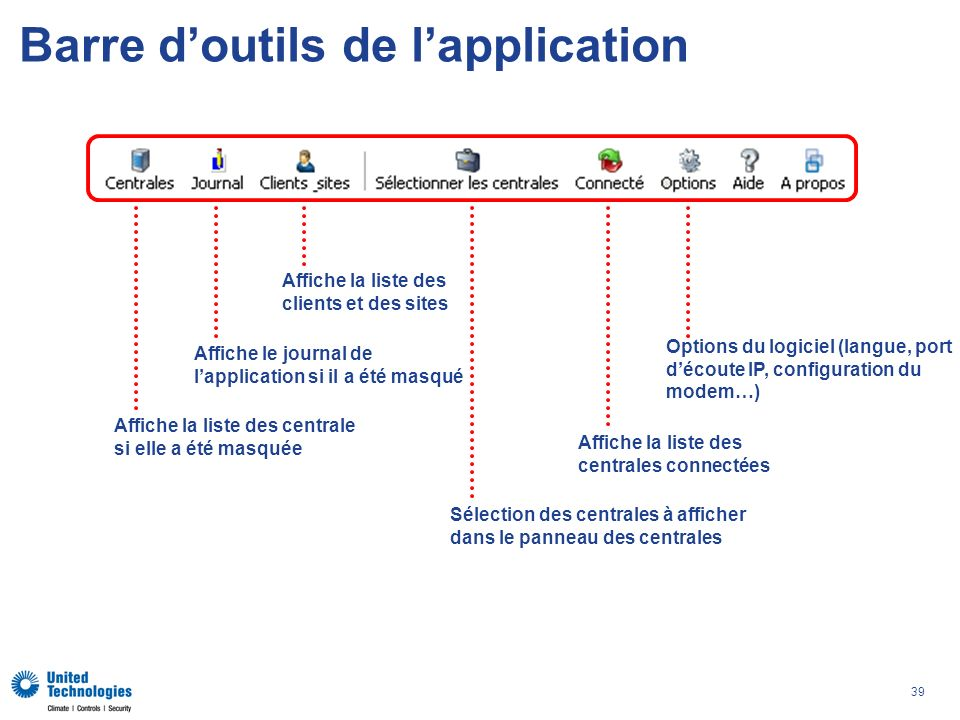 Barre d'outils de l'application