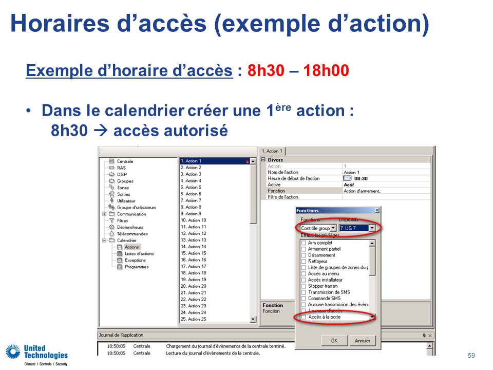 Horaires d'accès (exemple d'action)