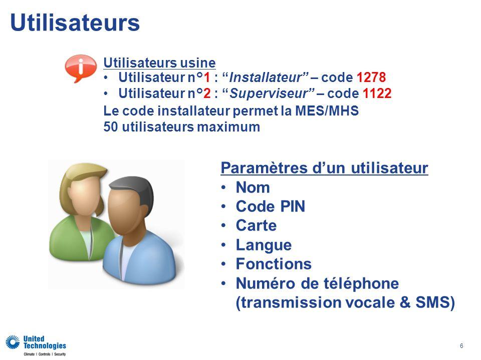 Utilisateurs Paramètres d'un utilisateur Nom Code PIN Carte Langue