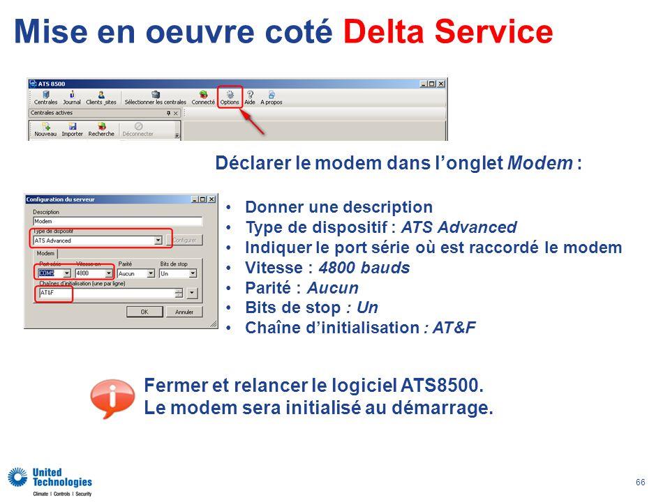 Mise en oeuvre coté Delta Service