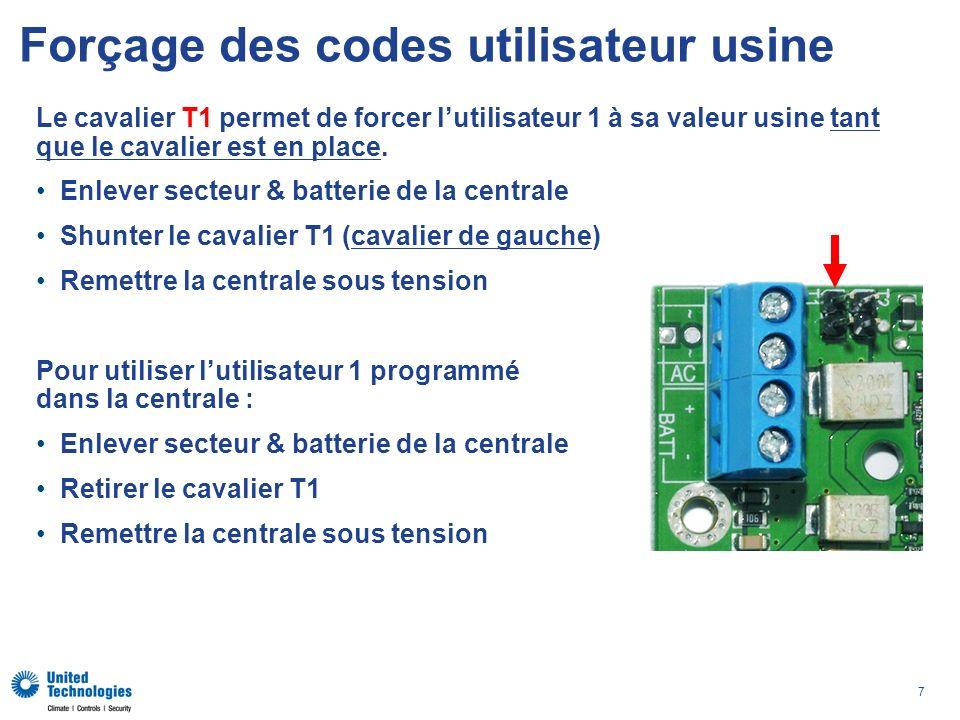 Forçage des codes utilisateur usine