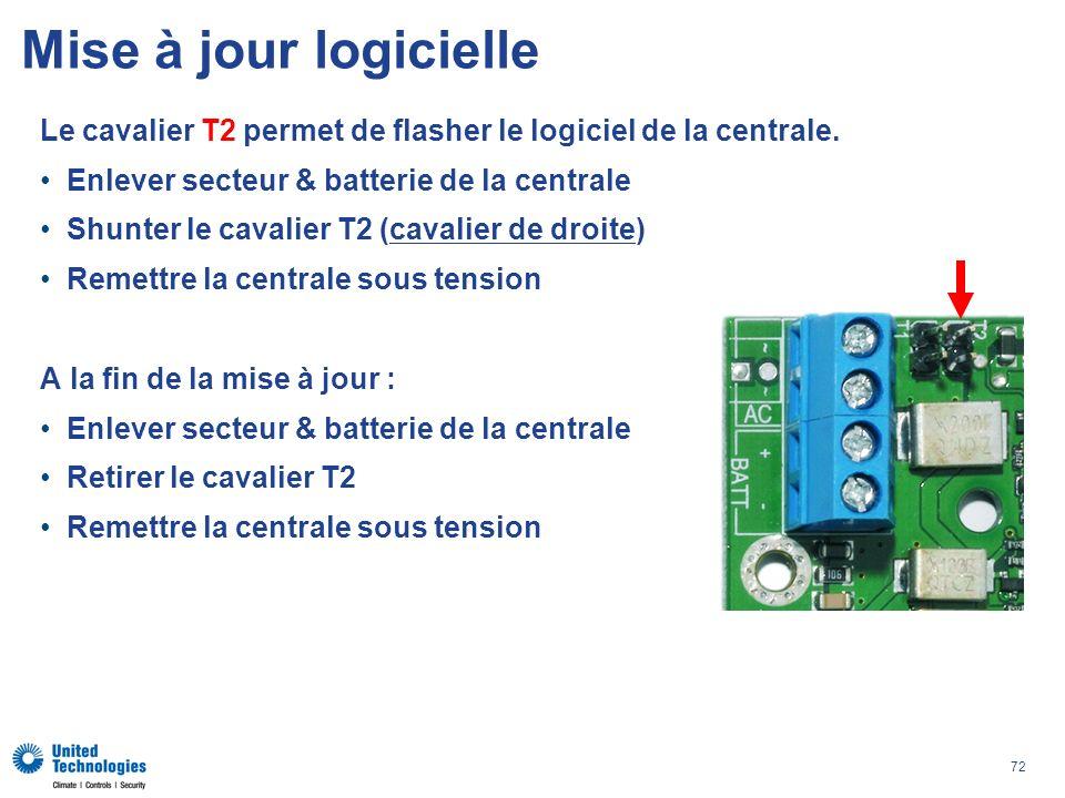 Mise à jour logicielle Le cavalier T2 permet de flasher le logiciel de la centrale. Enlever secteur & batterie de la centrale.